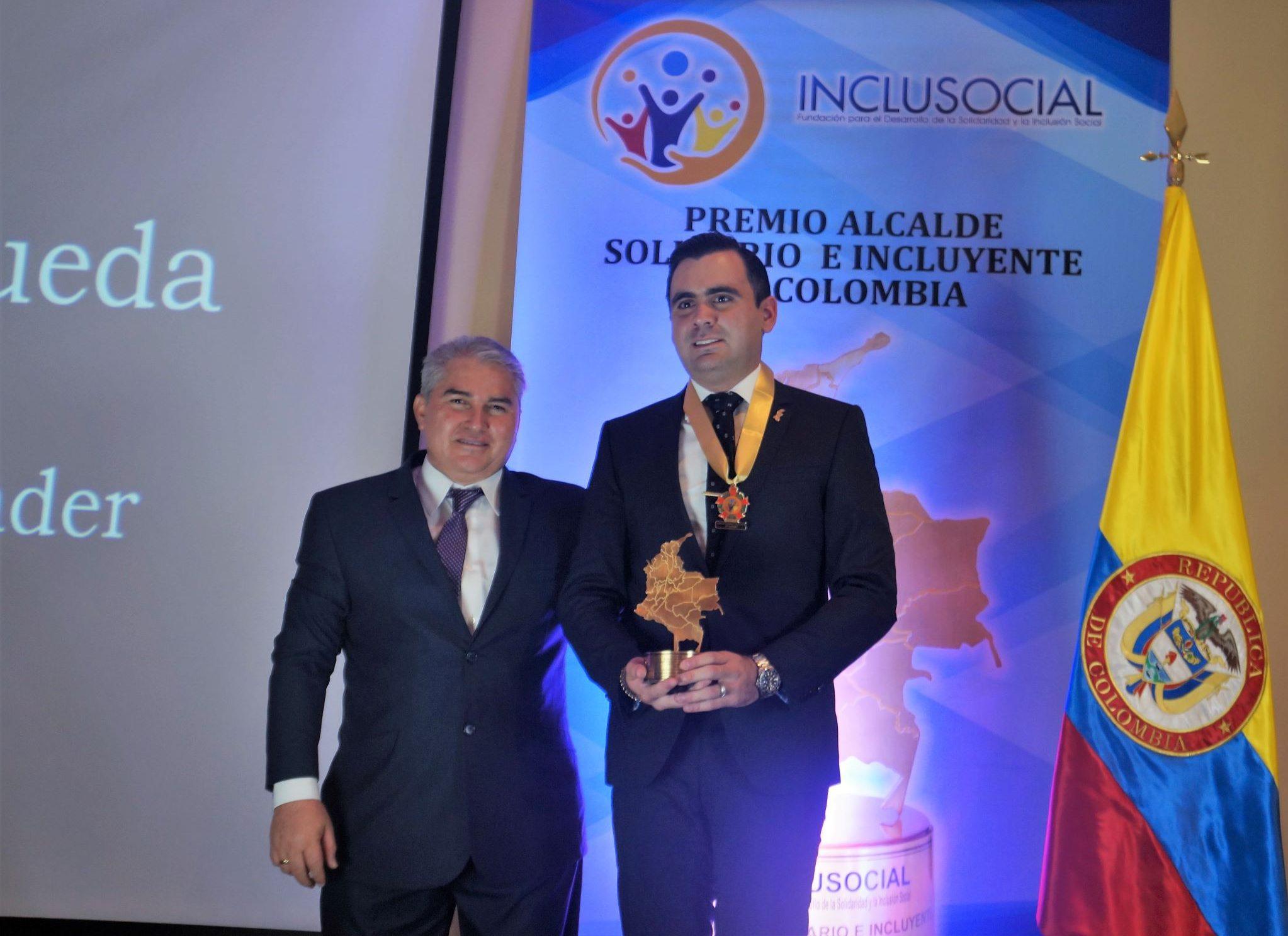 """Héctor Mantilla Rueda recibió el premio """"Alcalde Solidario e Incluyente de Colombia 2019 """""""
